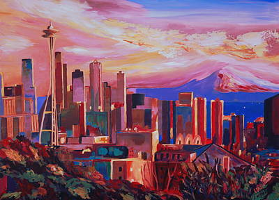Seattle Skyline Painting - Seattle Skyline With Space Needle And Mt Rainier by M Bleichner