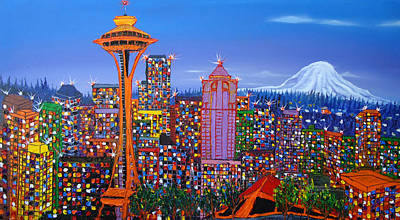 Seattle Space Needle 5 Print by Portland Art Creations