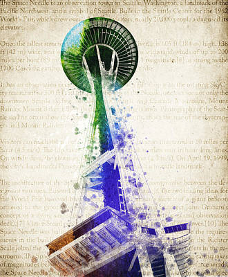 Seattle Skyline Mixed Media - Seattle Space Needle by Aged Pixel