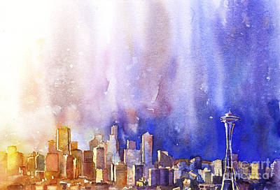 Wet Into Wet Watercolor Painting - Seattle Sunrise by Ryan Fox