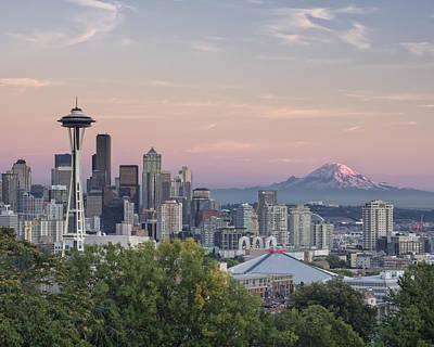 Mt. Rainier Photograph - Seattle Sunset by Kyle Wasielewski