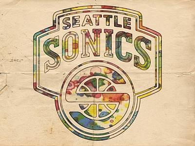 Basketball Painting - Seattle Supersonics Poster Art by Florian Rodarte