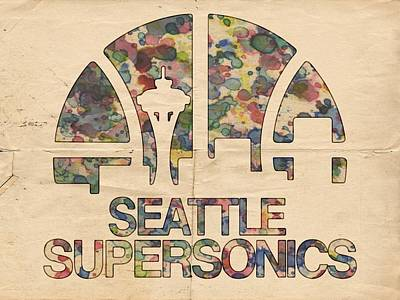 Basketball Painting - Seattle Supersonics Poster Vintage by Florian Rodarte