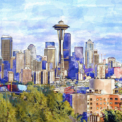Seattle View In Watercolor Print by Marian Voicu