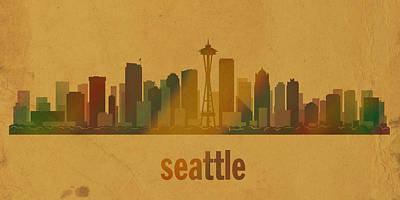 Seattle Washington City Skyline Watercolor On Parchment Print by Design Turnpike