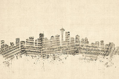 Seattle Washington Skyline Sheet Music Cityscape Print by Michael Tompsett