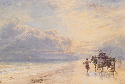 Horse And Cart Painting - Seaweed Gatherers by Myles Birket Foster