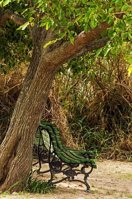 Secluded Park Benches Print by Jess Kraft