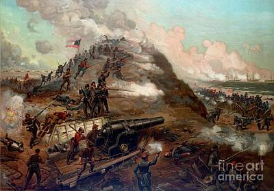 Artillery Painting - Second Battle Of Fort Fisher by American School
