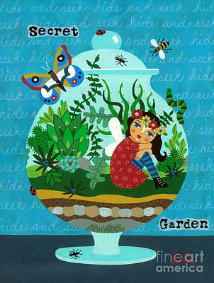 Ant Painting - Secret Garden Fairy In A Terrarium by LuLu Mypinkturtle