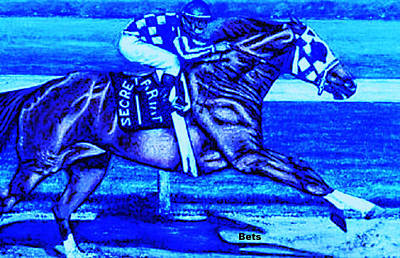 Secretariat Making His Move Blue Print by Bets Klieger