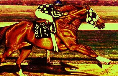 Horse Painting - Secretariat Making His Move Deep Chestnut by Bets Klieger