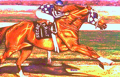 Horse Painting - Secretariat Making His Move Pastels by Bets Klieger
