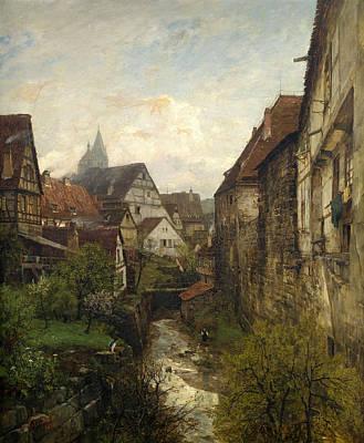 Esslingen Painting - Section In The Old Town Of Esslingen by Gustav Schoenleber