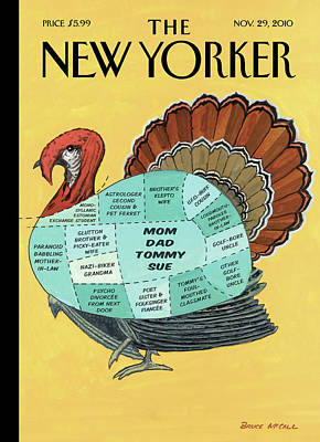 Sectioned Diagram Of A Turkey For Thanksgiving Print by Bruce McCall
