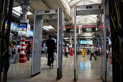 Security Scanners At Mumbai Station Print by Mark Williamson