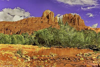 Sedona Arizona Cathedral Rocks Oak Creek Crossing Print by Bob and Nadine Johnston