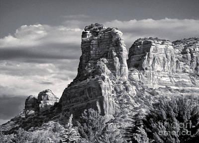 Sedona Arizona Mountain Peak - Black And White Print by Gregory Dyer