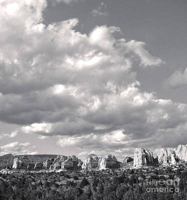 Sedona Arizona Mountains In Black And White Print by Gregory Dyer