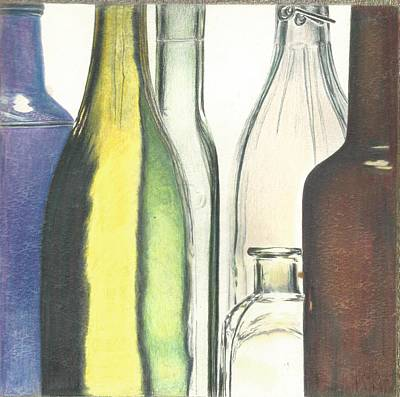 Glass Bottle Drawing - See Through Bottles by Jim Graves