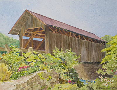 Seguin Covered Bridge In Charlotte Vermont Print by Mary Ellen  Mueller Legault