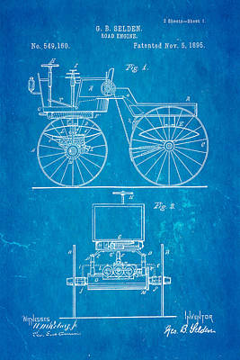 Selden Road Engine Patent Art 1895 Blueprint Print by Ian Monk