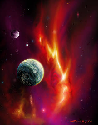 Planet System Painting - Solarian by James Christopher Hill