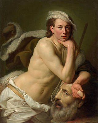 Goliath Painting - Self-portrait As David With The Head Of Goliath by Johann Zoffany