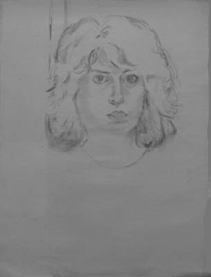 Self-portrait Drawing - Self Portrait Charcoal by Anita Dale Livaditis
