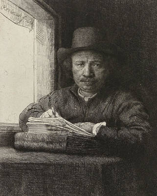 Self Drawing - Self-portrait Etching At A Window by Rembrandt