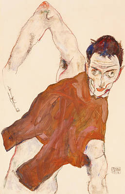Rights Painting - Self Portrait In A Jerkin With Right Elbow Raised by Egon Schiele