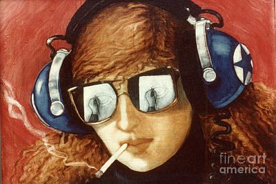 Aviator Painting - Self Portrait by Jane Whiting Chrzanoska