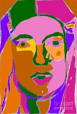 Abstract Digital Drawing - Self Portrait With Barrettes by Anita Dale Livaditis