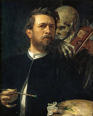 Arnold Boecklin Painting - Self-portrait With Death As A Fiddler by Arnold Boecklin