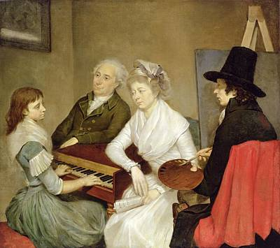 Self Portrait With Family Oil On Canvas Print by Georg Ludwig Eckhardt