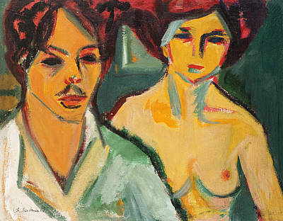 Self Portrait With Model Print by Ernst Ludwig Kirchner