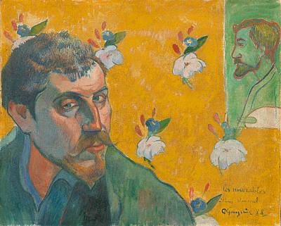 Self-portrait With Portrait Of Bernard. Les Miserables. Print by Paul Gauguin