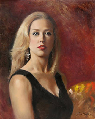 Self-portrait Painting - Self Portrait With Red Lipstick by Anna Rose Bain