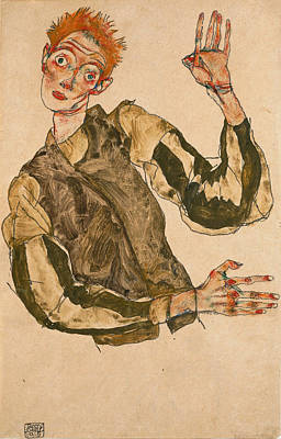 Self-portrait Drawing - Self-portrait With Striped Sleeves by Egon Schiele