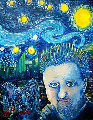 Dallas Skyline Painting - Self Portrait...plus Elmo by Terry Campbell