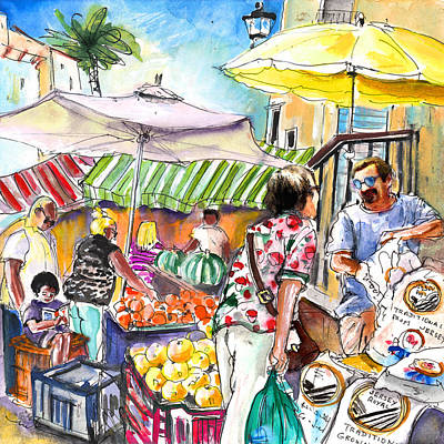 Grapefruit Drawing - Selling Jersey Potatoes In Turre by Miki De Goodaboom