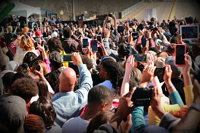 Selma 50th Anniversary - Crowd Photographs President Obama Print by Tracy Brock