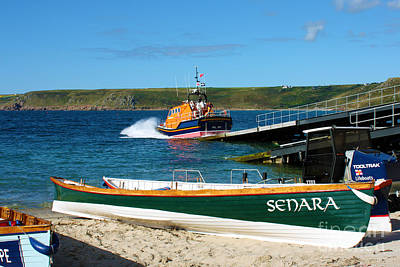 Sennen Cove Lifeboat And Pilot Gigs Print by Terri Waters