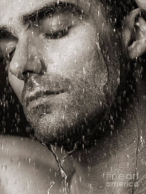 Sensual Portrait Of Man Face Under Pouring Water Black And White Print by Oleksiy Maksymenko
