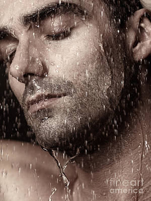 Shower Head Photograph - Sensual Portrait Of Man Face Under Pouring Water by Oleksiy Maksymenko