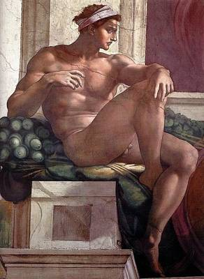 Separation Painting - Separation Of Light From Darkness - Ignudo Detail by Michelangelo Buonarroti