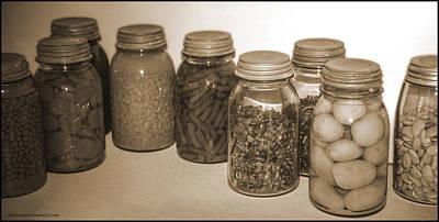 Peaches Photograph - Sephia Vintage Kitchen Glass Jar Canning by LeeAnn McLaneGoetz McLaneGoetzStudioLLCcom