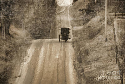 Amish Photograph - Sepia Buggy by David Arment