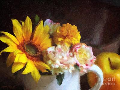 Digital Sunflower Digital Art - September Still Life by Lianne Schneider