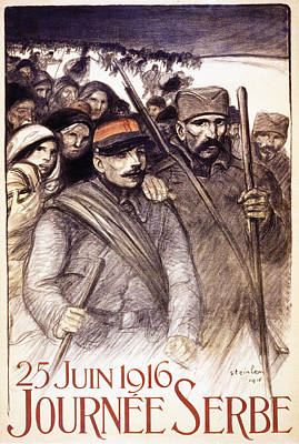 Ww1 Drawing - Serbian Day, 1916 by Theophile Alexandre Steinlen